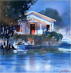 Thomas W Schaller  Cottage - Venice Canals. One hour plein-air demo painting.