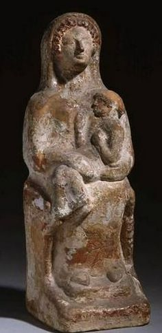 Demeter enthroned holding Kore in her lap - 600-500 BC, from Thebes, at the Louvre Museum