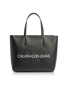 CALVIN KLEIN COLLECTION SCULPTED MONOGRAM TOTE BAG W/ SIGNATURE. #calvinkleincollection #bags #hand bags #tote Monogram Tote Bags, Calvin Klein Collection, Calvin Klein Jeans, Hand Bags, Dust Bag, Leather, Black, Black People, Handbags