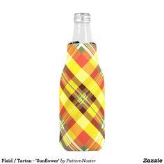 Plaid / Tartan - 'Sunflower' Bottle Cooler #gifts #giftideas #yellow #plaid #tartan #zazzle