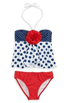 Love U Lots Polka Dot Two-Piece Swimsuit (Little Girls) available at #Nordstrom