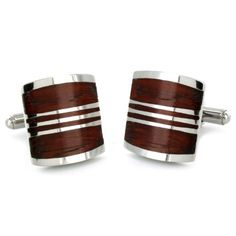 Stainless Steel Red Wood Cuff Links $13.99 (53% OFF)
