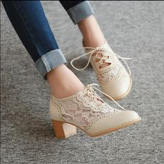 New Womens Lace Up Pointy Toe Chunky Block Mid Heels Mesh Cut Out Oxford Shoes Supernatural Style Crazy Shoes, New Shoes, Women's Shoes, Me Too Shoes, Shoe Boots, Strappy Shoes, Heeled Boots, Lace Oxfords, Ankle Boots
