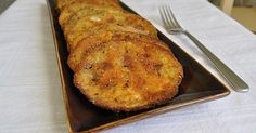 Baked Eggplant Recipe with eggplant, large eggs, seasoned bread crumbs, olive oil, garlic salt