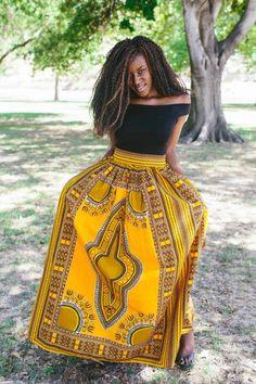 Olori Dashiki Maxi Skirt (Yellow)