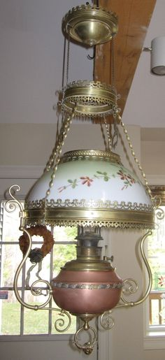 antique hanging lamps | Antique Victorian Bradley and Hubbard Hanging Oil Lamp circa 1890
