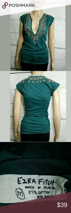 Ezra Fitch Abercrombie Long Beaded Embroidered Top Ezra Fitch Abercrombie Long Beaded Embroidered Cap Sleeve Top Green Medium  16 inches pit to pit.  26 inches long.     LB Ezra Fitch Tops Blouses