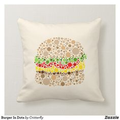 Choose from a wide variety of Burger cushion designs or create your own from scratch! Shop now for custom cushions & much more! Dots, Cushions, Tasty, Throw Pillows, Cool Stuff, Create, Design, Stitches, Toss Pillows