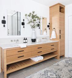 45 Hanging Bathroom Storage Ideas for Maximizing Your Bathroom Space - The Trending House Bathroom Renos, Bathroom Renovations, Bathroom Fixtures, Small Bathroom, Modern Master Bathroom, Modern Bathroom Vanities, Light Grey Bathrooms, Oak Bathroom Vanity, Modern Bathroom Cabinets