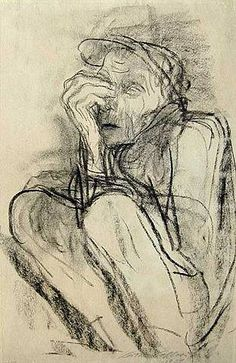 Death on the Road by Kathe Kollwitz, charcoal drawing, 19 x 12.5, 1934.