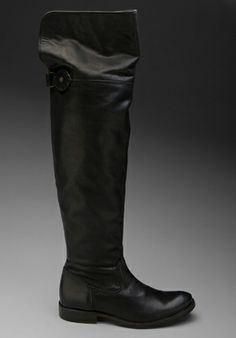 FRYE Shirley Over The Knee Flat Boot in Black -