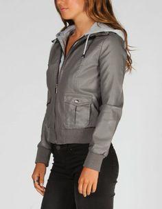 Amazon.com: FULL TILT Fleece Hooded Womens Faux Leather Jacket: Clothing