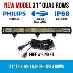 This LED Light Bar has 4 rows of Philips LEDs. With a 10 degree spot beam combo, it makes for an incredible lighting solution anytime, anywhere. Night Driving, Rainy Weather, Led Light Bars, Lighting Solutions, Power Cable, Low Lights, Bar Lighting, New Model, Quad