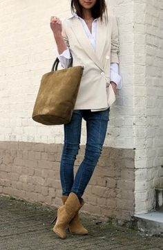 Love the asymmetrical blazer with boots and matching suede bag. topshelfclothes.com