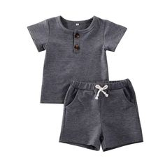 Cotton, broadcloth material Short sleeve shirt and shorts outfit O-neck collar Functional buttons Fits true to size Pants Outfit, Outfit Sets, Short Outfits, Baby Boy Outfits, Composition, Baby Accessoires, Gender Neutral Baby Clothes, Short Tops, Short Set