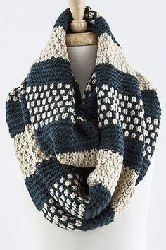 2TONE STRIPE DOTTED DESIGN KNIT INFINITY SCARF