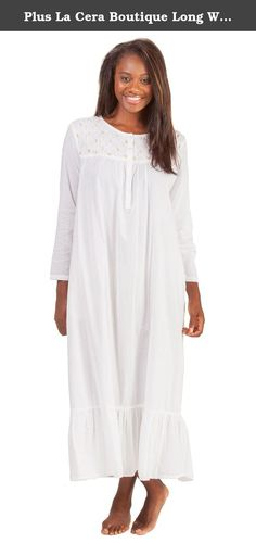 Plus La Cera Boutique Long White Cotton Nightgown In Rosebud Trellis (3X (26-28), White/Pink Rosebuds). Plus La Cera Boutique Nightgowns - White embroidery makes a trellis effect that is adorned with rosebuds in hues of pink with greens along the bodice of this nightgown by La Cera Boutique. This luxuriously soft 100% cotton nightgown comes in pure white and is enhanced with a stunning smocked yoke.
