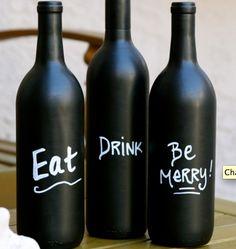 Chalkboard wine bottles