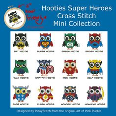 Hooties Super Heroes Owls Mini Collection Cross by PinoyStitch, $7.50