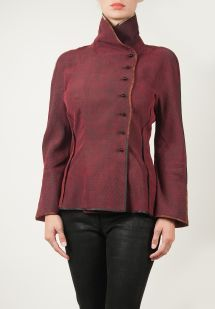 Sophie Hong Silk Hip-Length High-Collar Jacket in Red