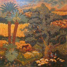 "Ali Seliem, Fayoum, 1982. From ""Thread of Life"" by E. A Stephano, 1990.  Ramses Wissa Wassef Tapestries, Giza, Egypt."