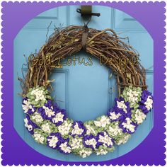 "Brand New ** Grapevine Wreath with Handmade Purple/Green Felt Flowers, 18"" *** Gold Lotus Designs ** Custom Handmade Crafts by Kim Lynn ** www.facebook.com/GoldLotusDesigns"
