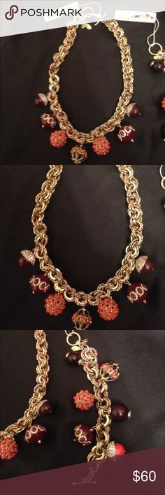 """ANN Taylor necklace with bracelet Ann Taylor vintage goldtone Crystal burgundy and orange acorn beaded necklace and bracelet.  VINTAGE ANN TAYLOR GOLDTONE CRYSTAL BURGANDY ORANGE BEADED STATEMENT NECKLACE 18"""" - Lovely fall necklace! Each charm is approx 3/4"""" , chain links are approx. 1/2 """" wide. This is a unique piece with beautiful piece set, never worn with tags Ann Taylor Jewelry Necklaces"""