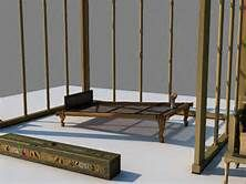 The Royal Wife Hetepheres' bedroom equipment: a low wooden bed with a headboard and headdrest, a wooden, removable, 3 parts baldaquin for curtains and isolation; on the floor, left, a long wooden chest for storing the folded linen curtains; right, a throne chair. Digital art rendering by Tatiana Alexandrova. Tomb of Hetepheres I, Royal Wife of King Snefru, mother of King Khufu. 4th dynasty, ancient Egypt. Original pieces at Cairo's Egyptian museum.