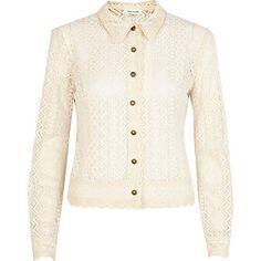 Cream Victoriana lace shirt $70.00