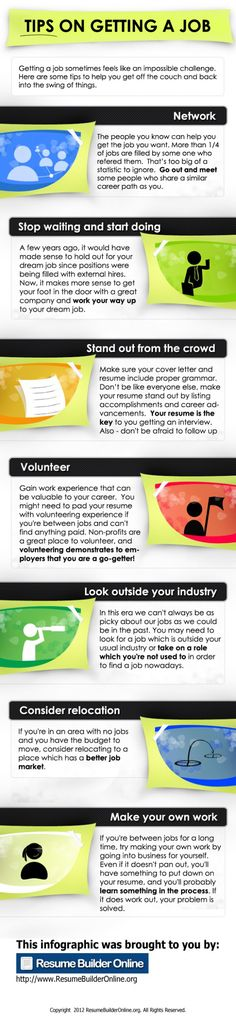 A great infographic for Tips on Getting a #Job    More career tips can be found at www.HallieCrawford.com #careers