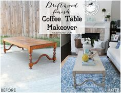 If you love the coastal driftwood look then this is for you! Learn the easiest way to get a weathered wood finish featured on this coffee table makeover. Coffee Table Refinish, Coffee Table Makeover, Painted Coffee Tables, Unique Coffee Table, Diy Coffee Table, Coffee Table Design, Recycled House, Driftwood Table, Rustic Living Room Furniture