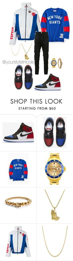 """""""Saturday night vibes"""" by nicolemorris87 ❤ liked on Polyvore featuring NIKE, Mitchell & Ness, Rolex, Alexander McQueen, Roial, adidas Originals, AMIRI, men's fashion and menswear"""