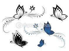 mariposas con un patrón de flores — Vector stock © MariStep #4275753