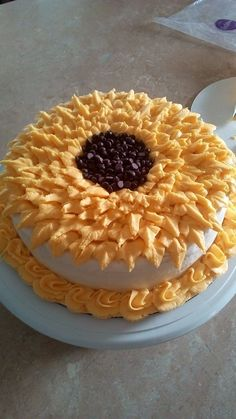 """September 2016  Sunflower cake  2 layer red velvet cake with white buttercream icing.  Hand piped flower leaves.  Center """"Sunflower Seeds"""" made using chocolate chips.   This was made just for fun.  It was nice to do that.  No pressure to worry about it being perfect."""