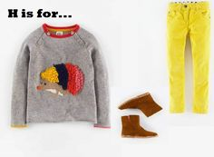 MiniBoden Back to School Look #4: Fun Sweater, Cord Slim Fit Jeans, Short Leather Boots