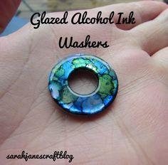 Glazed Alcohol Ink Washers - - Alcohol Ink on washers with diamond glaze diy craft tutorial. Alcohol Ink Jewelry, Alcohol Ink Glass, Alcohol Ink Crafts, Alcohol Ink Painting, Resin Jewelry, Jewelry Crafts, Jewelry Ideas, Washer Crafts, Homemade Alcohol