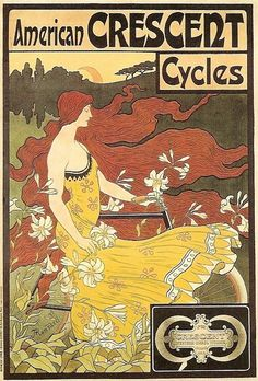 vintage art nouveau poster for American Crescent Cycles