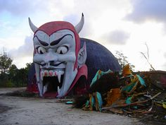 The demolition of Dante's Inferno at Miracle Strip Amusement Park, Panama City Beach, Florida, via Flickr.