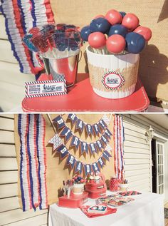 Vintage Red & Blue Train Party; a great theme for kids parties or a patriotic July 4th get-together!
