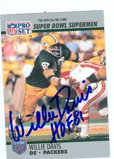 willie davis football card | Willie Davis Autographed/Hand Signed Football Card (Green Bay Packers ...