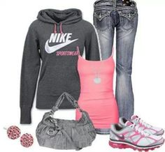 Miss Me jeans, pink tank, sweatshirt, gray purse, tennis shoes with pink earrings