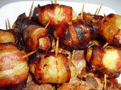 Batatinhas enroladas em bacon - De Avental e Saltos Altos
