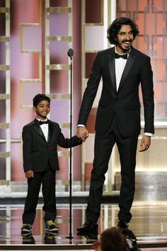 "Dev Patel and Sunny Pawar introduce their film, ""Lion"" at last night's Golden Globe Awards."