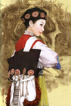 Asian art and artists.  Chen Shu Fen (陈淑芬 is from: Xiangtan City, Hunan Province, China Unicom. Painting illustrations illustrator 56 national figures, and they are all hand-painted paintings.