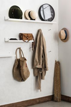 Cloakroom with parcel shelf made of MOSSLANDA picture strip, white- IKEA Germany Apartment Entryway, Apartment Design, Ikea Mosslanda, Hat Shelf, Best Ikea, Engagement Ring Cuts, Ikea Hack, Cool Walls, Decorative Objects