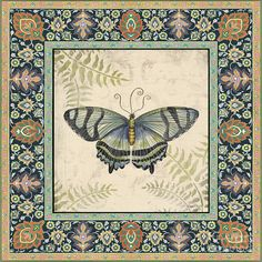 Vintage Tapestry Butterfly-a Painting