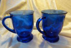 Sold $14.98 /// Set of 2 Vintage ANCHOR HOCKING Glassware Cobalt Blue 16 oz Mugs Kitchenware