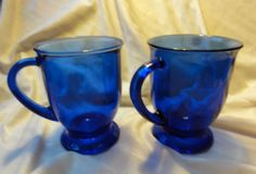Sold $14.98 /// Set of 2 Vintage ANCHOR HOCKING Glassware Cobalt Blue 16 oz Mugs Kitchenware
