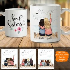 Personalized Best Friends Mug (Up To 5 Persons) - 2272 – Unifury Diy Best Friend Gifts, Personalized Best Friend Gifts, Best Friend Christmas Gifts, Best Friend Mug, Birthday Gifts For Best Friend, Friend Mugs, Diy Christmas Gifts, Sister Birthday Gift, Bff Gifts