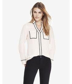 Original Fit Ivory Contrast Piping Portofino Shirt  Women's